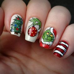 Grinch Nails nail art by Kim