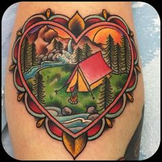 Camping Heart by @dptatt_layer at Five Star Tattoo in Louisville Kentucky. #heart #camping #nature #dptattlayer #dptatt_layer #fivestartattoo #louisville #kentucky #tattoo #tattoos #tattoosnob