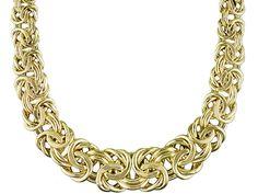 Splendido Oro(Tm) 14k Yellow Gold Graduated Flat Byzantine 18 Inch Necklace