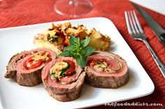 Flank Steak Roulade. sounds simple enough for me to try soon. maybe i'll stuff it ala Filipino Morcon.