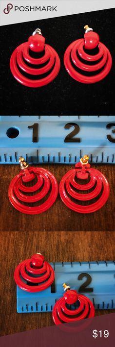 Flash Sale  Vintage Red Pierced Earrings Vintage Red Pierced Earrings Vintage Jewelry Earrings