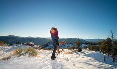 Mount Falcon Park Winter Engagement Session Romantic Mountains Photos