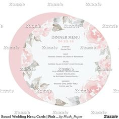 Round Wedding Menu Cards | Pink Watercolor Roses