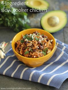 slow cooker pulled chicken: easy, healthy, and just 6 ingredients! Eat alone as a great source of lean protein (chicken) and complex carbs (beans). Or, wrap it up with your favorite whole wheat or corn tortilla!