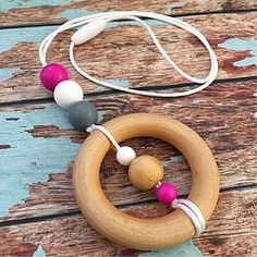 Wooden Teething Ring and Silicone Pendant Necklace