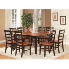 East West Furniture PARF9-BLK-W 9-Piece Parfait Square Table with 18 in. Butterfly Leaf & 8 Wood Seat Chairs in Black & Cherry Finish, As Shown