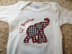 Onesie with Elephant applique in houndstooth, personalization included. Roll Tide on Etsy, $17.00