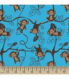 Snuggle Flannel Fabric Monkey Around Blue