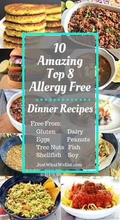 10 Amazing Top 8 Allergy Free Dinner Recipes - Just What We Eat - 10 Amazing Top 8 Allergy Free Dinner Recipes – Recipes free from gluten, dairy, eggs, peanuts, tr - Dairy Free Nut Free Recipes, Dairy Free Eggs, Gluten Free Recipes For Dinner, Allergy Free Recipes, Dinner Recipes, Dip Recipes, Dairy Free Foods, Gluten Dairy Free, Lactose Free