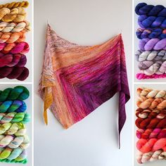 There are some knitting pieces that make our jaws drop and the Find Your Fade Shawl is one of them. This oversized triangular shawl is a… Knitted Poncho, Knitted Shawls, Crochet Scarves, Knit Or Crochet, Crochet Shawl, Knitting Yarn, Knitting Patterns, Find Your Fade Shawl, Yarn Inspiration