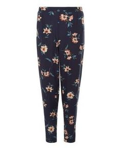 Blue Floral Print Trousers    New Look