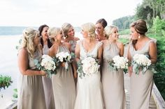 mixed gowns in dove//Augusta, GA #bridesmaids #nataliedeayala #bridesbabes #riverbankwedding #dovegowns