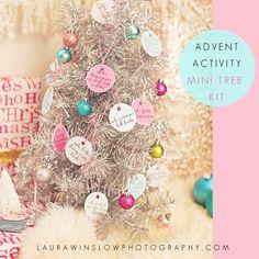 Free Advent Activity Calendar Kit // Christmas Advent Calendar Ideas #christmas #advent #holiday #adventcalendar #printable #free #freebie #diy #tree #pastel #kids #activities