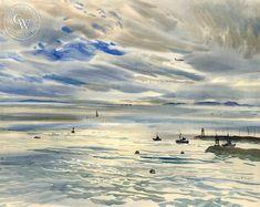 The Newport Jetty, art by Rex Brandt – California Watercolor