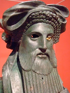 Herm of Dionysos Greek made in Asia Minor 100-50 BCE Bronze and Ivory Attributed to the workshop of Boethos of Kalchedon