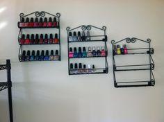How I store my nail polish. Spice racks from Amazon.com
