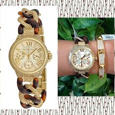 Authentic Michael Kors Camille Champagne Watch % AUTHENTIC ✨ Beautiful Camille Champagne ladies watch from Michael Kors Gold tone stainless steel case w/ a tortoise & gold tone stainless steel bracelet. Fixed steel set w/ crystals bezel Champagne dial w/ gold tone hands & Roman numeral & crystal index hour markers. Water resistant @ 50meters/165feet. GORGEOUS  Bangle not included. Box & card included  NO TRADE Michael Kors Accessories Watches