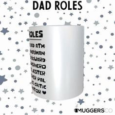 This, Dad roles Coffee Mug makes for a cool thank you gift that shows gratitude for the great dad that they are and all the things that they do. Don't sweat over the right gift! This mug is beautiful as it is durable; a great birthday gift, father's day gift, thank you gift or Christmas gift to give that deserving person. The universal acceptance of a coffee mug as a gift makes it a preferred gift choice, and this mug is an excellent gift for the one you want to celebrate.