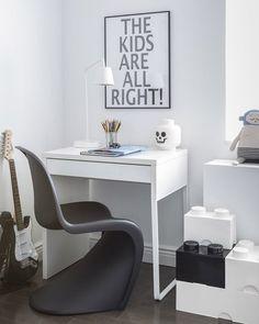 IKEA Micke Desk in a Kids Roomwith Unique Chair Minimalist Design in White Ikea Micke, Micke Desk, Ikea Vittsjo, Kids Office, Home Office, Lego Storage Brick, Kids Workspace, Kids Bedroom Storage, Boys Room Design