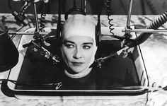 "Her helmet was so tight it popped her head right off! picture from ""The Brain that Wouldn't Die,"" 1962,"