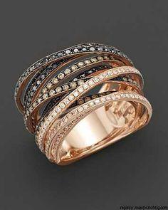 Multi-Color Diamond Ring in 14K Rose Gold