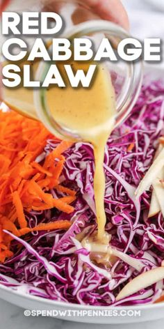Red Cabbage Coleslaw, Cabbage Salad Recipes, Slaw Recipes, Vegetable Recipes, Vegetarian Recipes, Healthy Recipes, Red Cabbage Soup, Cooking Recipes, Gourmet
