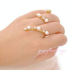 Trendy Pearl ,2 Fingers Ring Cuff Jewelry for Women