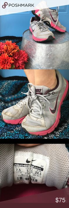 Nike ZOOM tennis shoes 🏃🏼‍♀️👟 Gently used, Nike zoom. Structure 15, running specialized tennis shoes. Flywire. Grey and pink body with black and pink soles. Nike Shoes Athletic Shoes