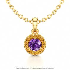 Halo Pendant with Amethyst and Citrine in 18k Yellow Gold and Anchor Chain 1.75mm in 14k White Gold