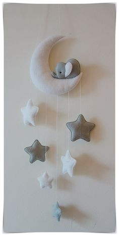 Sleepy elephant & stars baby nursery décor. Drop of stars (from bottom of moon) approx. Perfect for nursery decor or to brighten up any room! Height of moon approx. 14 cm. | eBay!