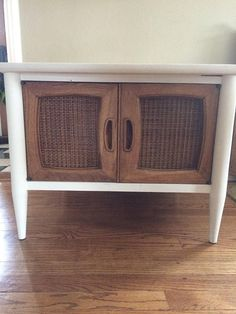 AVAILABLE: White Midcentury Accent Table / Side Table / Cane / Media Cabinet / Accent Cabinet / Chalk Paint / Annie Sloan / Barrington IL