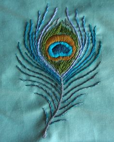 Embroidered Peacock Feather by Sugarloafin