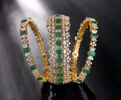 Latest Diamond Bangles set with Emeralds and Square cut Diamonds | Latest Indian Jewellery Designs