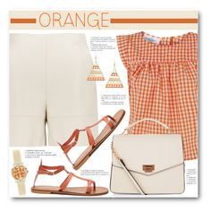"""""""Orange & Cream"""" by brendariley-1 ❤ liked on Polyvore featuring Peridot London, New Look and Orla Kiely"""