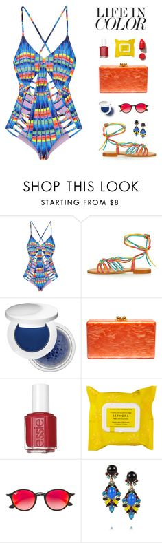 """""""""""Be a little kinder than you have to."""" -E. Lockhart, We Were Liars"""" by are-you-with-me ❤ liked on Polyvore featuring Mara Hoffman, Topshop, Estée Lauder, Edie Parker, Essie, Sephora Collection, Ray-Ban, Erickson Beamon and NARS Cosmetics"""