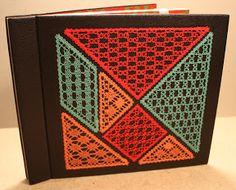 Bobbin Lace Patterns, Weaving Patterns, Bobbin Lacemaking, Lace Art, Lace Jewelry, Handmade Books, Lace Making, Journal Covers, Bookbinding