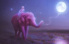 автор: 9elena9 / размер: 1920x1080 / теги: небо, звезды, счастье, цветы, ночь, улыбка, настроение, розовый, луна, рисунок, слон, ребенок, шарик, луг, девочка, нитка