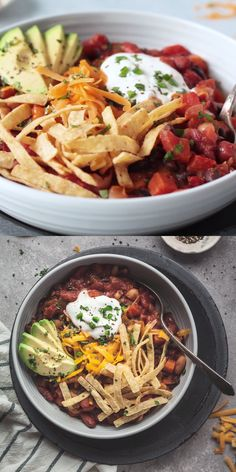 Mar 2020 - Easy Vegetarian Chili - This is the best meatless chili recipe! Tons of veggies and beans, perfect with chips, on a veggie burger, or a vegetarian chili dog! Vegetarian Chili Easy, Clean Eating Vegetarian, Vegetarian Recipes Videos, Vegetarian Meals For Kids, High Protein Vegetarian Recipes, Vegan Chili, Cooking Recipes, Healthy Recipes, Recipe For Meatless Chili