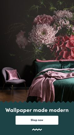 Beautiful Dark Floral Wall Mural - Aria Create a luxe look in any room of the house with this fresh, Jewel Tone Bedroom, Plum Bedroom, Bedroom Green, Bedroom Colors, Bedroom Decor, Bedroom Ideas, Eggplant Bedroom, Dark Romantic Bedroom, Feminine Bedroom