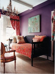 Fresh Plum and Brown Living Room