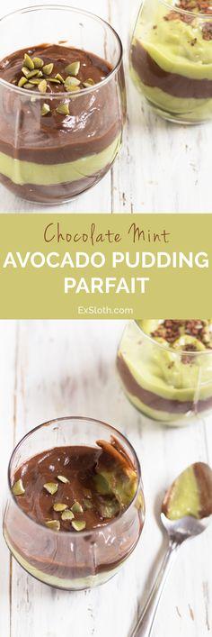 Vegan Chocolate Mint Avocado Pudding Parfait via @ExSloth | ExSloth.com