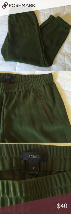 J. Crew Olive Green Jogger Pant, size 8 These J. Crew 'Turner' olive green jogger pants are extremely flattering on. Front pockets with zippers, and elastic at the waist and ankles. They can be dressed up or dressed down! Only worn once, in excellent condition! Size 8. J. Crew Pants