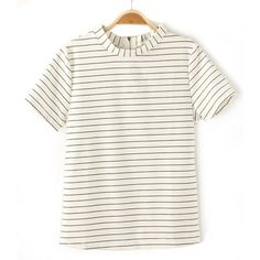 Simple Design Striped Short Sleeve Round Collar Cotton T-Shirt, WHITE, L in Tees & T-Shirts | DressLily.com