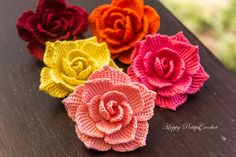 Rose Flower Applique pattern by Happy Patty Crochet.  (This is the prettiest, most detailed crocheted flower I think I've ever seen.)  A lot of people are repinning this so I'll add this note:  I did buy this and it is awesome!!