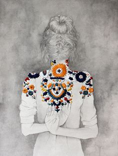 Love this. Illustration using paper + embroidery by Izziyana Suhaimi
