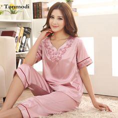 Pajamas For Women Summer Ladies Silk Pyjamas Short sleeve Embroidery Pajamas Women's Sleep Lounge Pajama Sets Plus Size 3XL