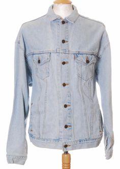 Vintage Stonewashed Blue Levi Strauss Orange Tab denim trucker jacket - Extra Large #EasyPin