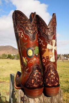 I painted this pair of Ariat Boots for a Bride to be-she's wearing them at her wedding reception!