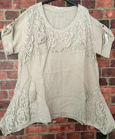 Lagenlook Layered Boho Linen Flax Lace Tunic Blouse Top Beige Italy 18 20 50 | eBay