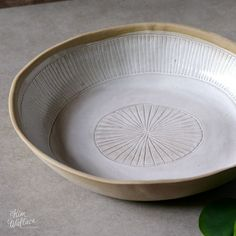 Serving bowl ~ white on natural with hand-carved pattern